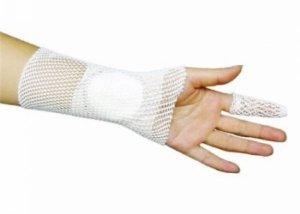 Elastic tubular net bandage wrist part