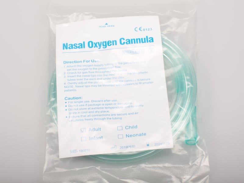 nasal cannula in bag