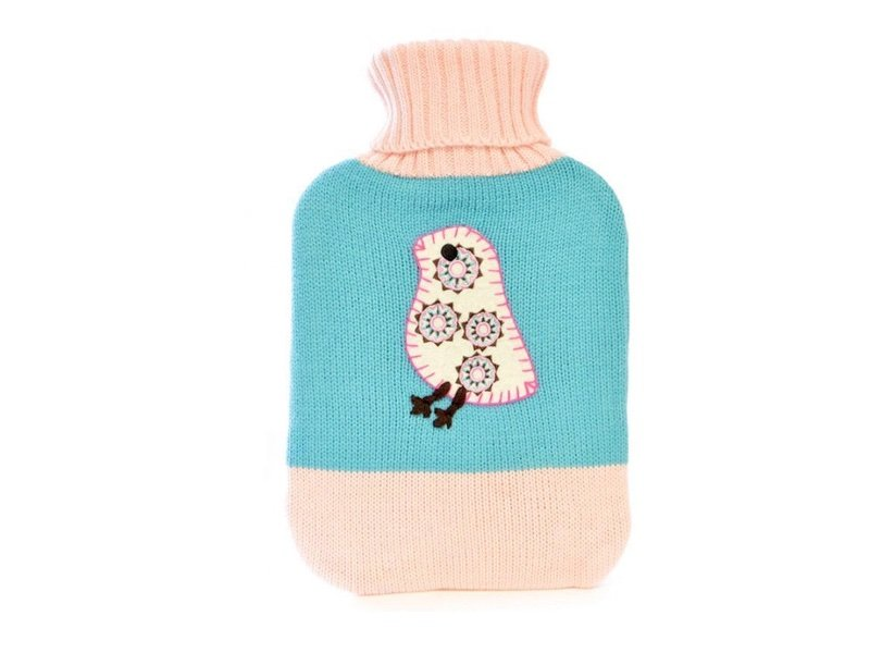 hot water bag with knitted cover bird