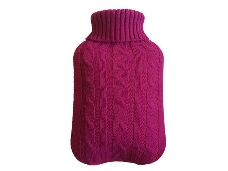 hot water bag with knitted cover purple